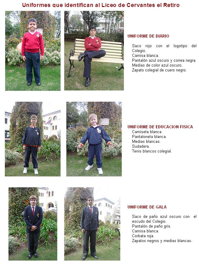 Liceo de Cervantes el Retiro, Mira los uniformes
