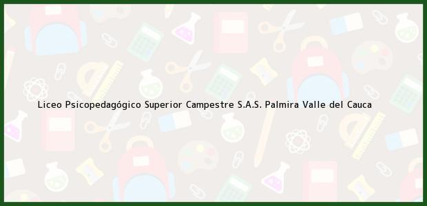 Teléfono, Dirección y otros datos de contacto para Liceo Psicopedagógico Superior Campestre S.A.S., Palmira, Valle del Cauca, Colombia