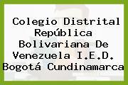 Colegio Distrital República Bolivariana De Venezuela I.E.D. Bogotá Cundinamarca